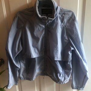 Eddie Bauer wind breaker light blue zip up jacket